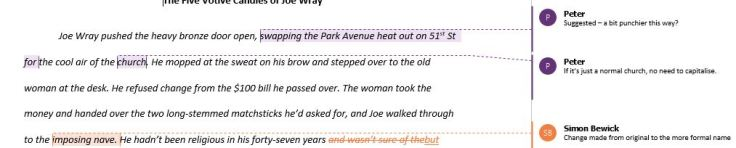 Screen shot of an edit done in Word on a recent short story