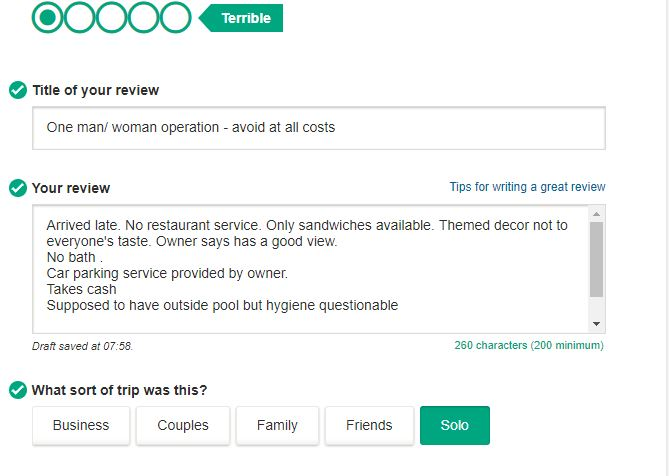 Fake trip advisor review