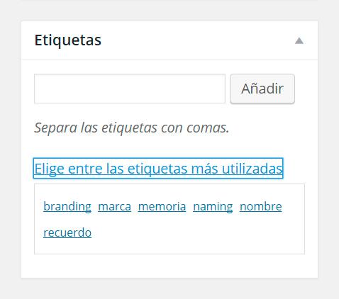 Añadir/elegir etiqueta