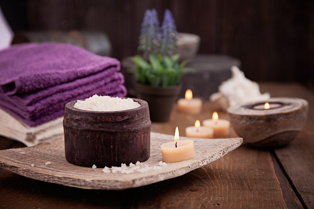 Introductory Special massage therapy spa towels by candle lit salt