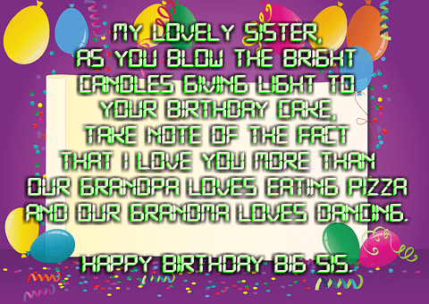 Birthday Wishes Picture for Sisters
