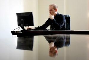 technician checking a computer