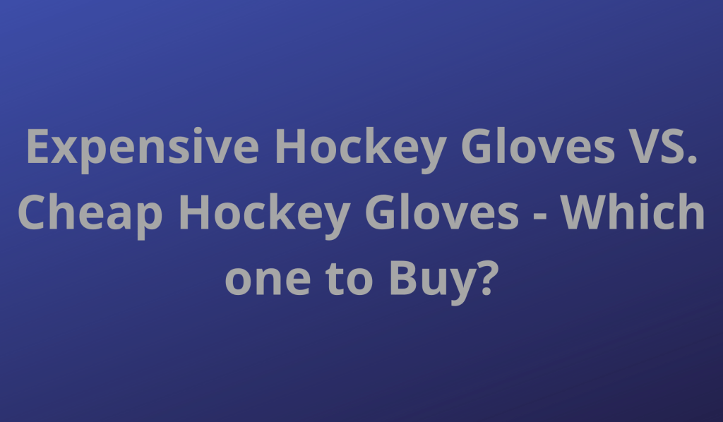 Expensive Hockey Gloves VS. Cheap Hockey Gloves - Which one to Buy?