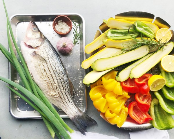 Easy Spring Menu: Grilled Striped bass and Vegetables