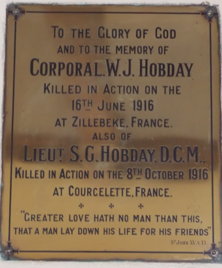 Hobday Memorial in Penhurst Church.