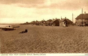 BBE-010 - Cooden Beach, Bexhill-on-Sea, looking West from Cooden Beach c1935
