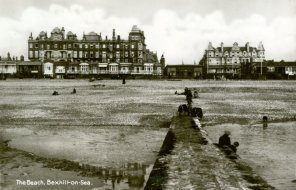 BBE-016 - Channel View from Beach, New Club and Marina Court c1920