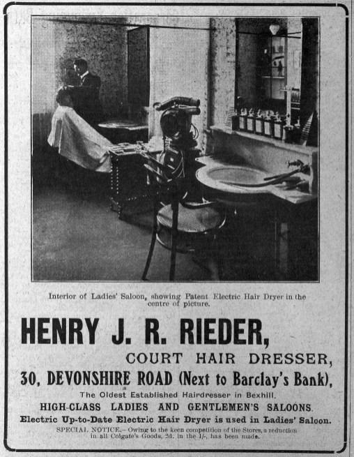 SHO-001 - Henry J R Rieder Hairdresser 30 Dev Rd 1907