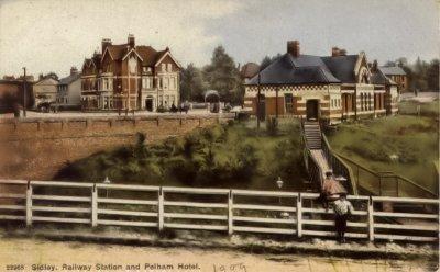 Sidley Station & Pelham Hotel c1909