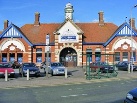 BW-084 - Bexhill West station forecourt in October 2007. The main entrance leads directly into the former booking hall where two original ticket office windows can still be seen on the east wall.