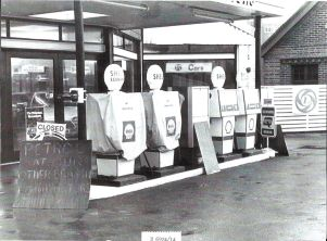 Garage during the 1979 fuel crisis