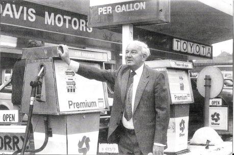 Joe Davis at his petrol pumps