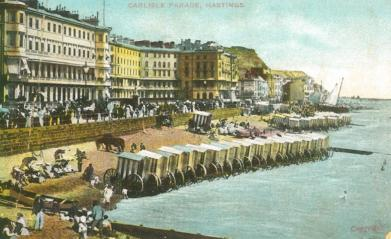 Carlisle Parade with bathing machines looking east tinted pc 20-7-1906