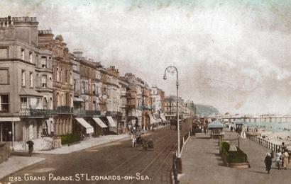 Grand Parade, St Leonard's looking east, (tinted postcard)
