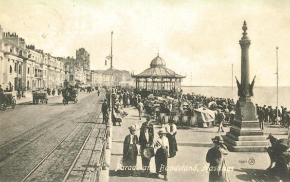 Memorial & Bandstand, White Rock Promenade (postcard) 8-9-1914