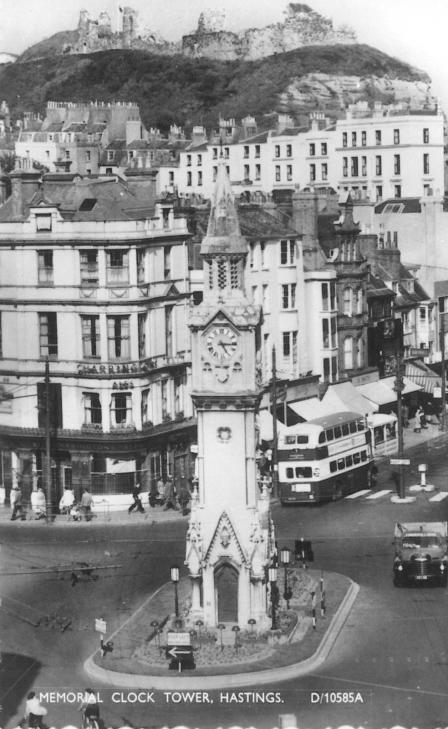 Memorial & Castle with rear of motor bus c1950