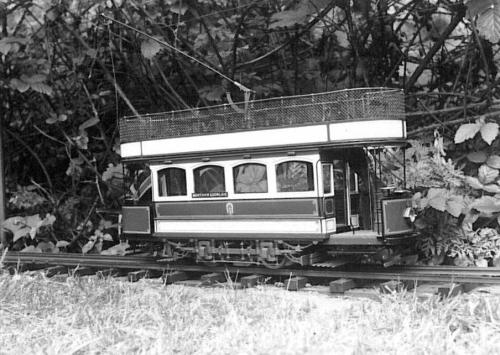 Open top d-d tramcar model three quarters scale