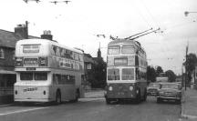 Trolley 57 GKP512 Park Wood serv passing Atlantean 32 @ Fountain 22-6-1966