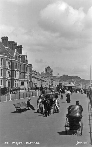 White Rock promenade looking east - tram in distance c1910