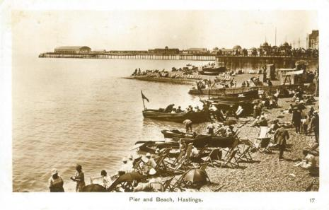 Pier and beach from east (Postcard) 23-3-1928
