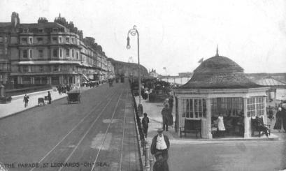 Shelter on promenade, Warrior Square, looking east. Tram tracks 14-5-1919