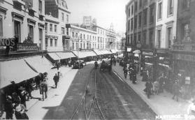 Town centre road with tram tracks