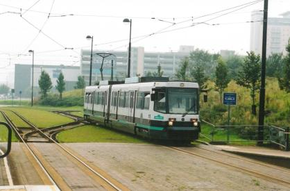 1015 2 car tram Eccles serv arriving Broadway stn