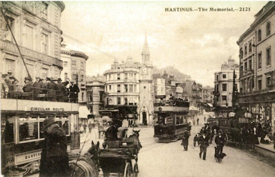 2 & two others & horse bus, Albert Memorial looking east pc 11-7-1906