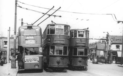 84 route 38, trolley on route 698 to Bexleyheath & tram 1945 @ Abbey Wood, post-war
