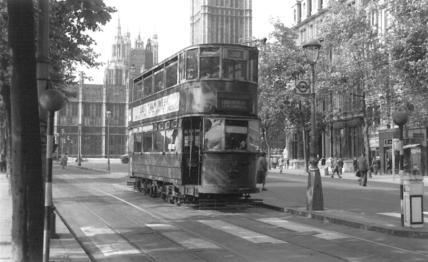 88 route 38 reaches destination, Embankment, last tram week 1952