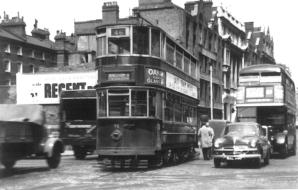 96 route 46 to Beresford Sq with RT bus right, 30-6-1952