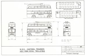 Drawing AEC 661T, Park Royal 54 seat body built 1940