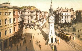 Memorial looking east (elevated view ) with tram (tinted postcard)