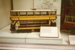Model LCC closed top double bogie tram, Covent Garden Mus 17-9-1983