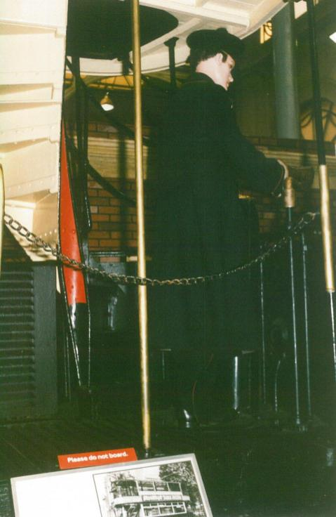 Preserved tram, platform with driver