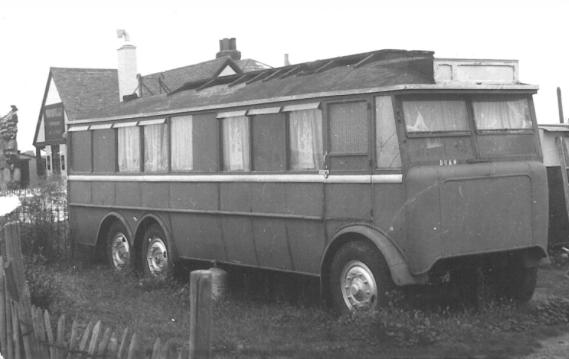 Single-decker Guy trolleybus Duke as caravan between Sheerness & Minster, Isel of Sheppet 27-9-1953
