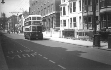 Sunbeam d-d trolleybus Cambridge Rd heading east serv 6 to Ore c1958