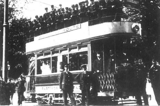 Tram on circular route, filled with soldiers
