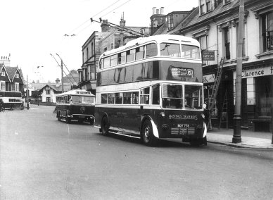 Trolley 1 BDY776 serv 6 to Langham, trolley 28 DY9130 circ route, open top d-d, Silverhill c1940