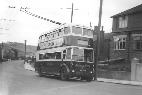 Trolley 2 serv 11 to St Helens in Saxon Rd, Clive Vale 20-10-1956