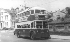 Trolley 44 BDY819 serv 8 to Cooden Queens Rd by rly bridge c1958