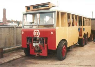 Trolley 45 DY5458 during restoration, St Leo depot