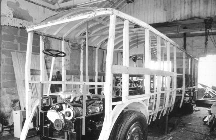 Trolley 45 stripped framework in shed 1993