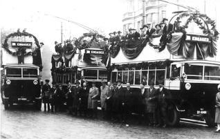 Trollies 1 & 4 opening day 1-4-1928, ex-servicemen specials