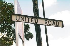 United Rd street name, runs under North Stand, Old Trafford