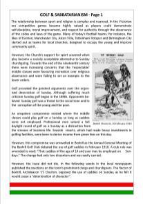 GOLF & SABBATARIANISM - Page 1