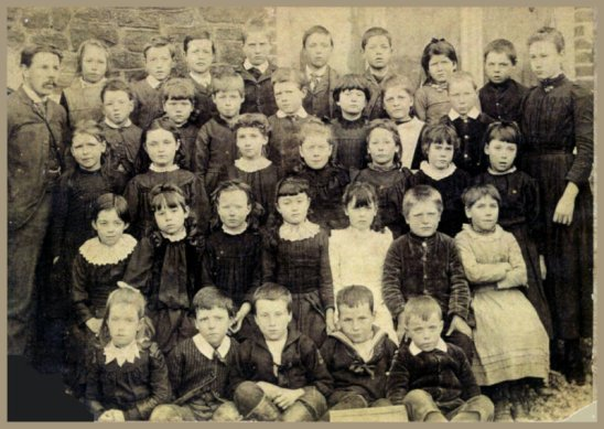 St Mark's school class with Mr Hawkins and Miss Bates c1890