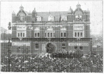 The crowd outside the Town Hall listening to the reading of the Charter