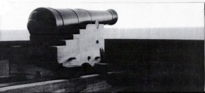 18lb long gun carronade and gun carriage on the restored Martello Tower in Dymchurch, Kent, in the guardianship of English Heritage.