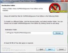 SUPERAntiSpyware Free Edition どこに保存するか確認、デフォルトでOK